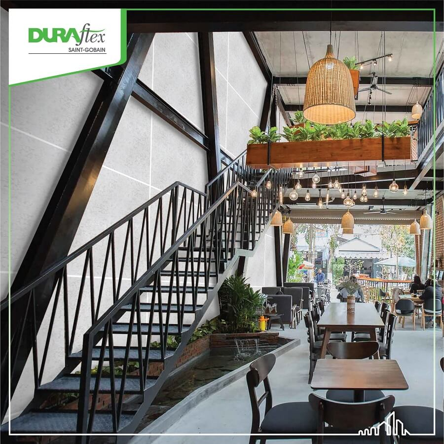 Nhà khung thép tiền chế 1 tầng ứng dụng làm quán cà phê