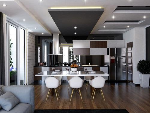 mẫu trần thạch cao phòng bếp đẹp sử dụng tông màu kết nối