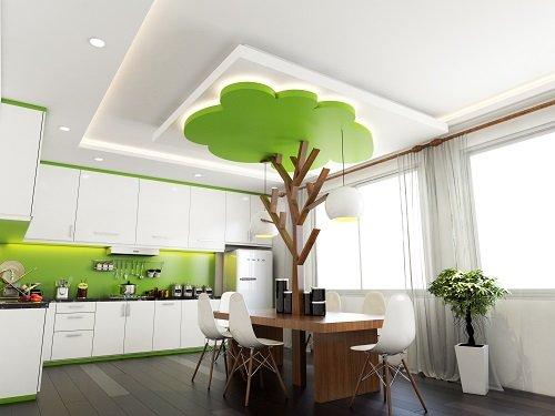 mẫu trần thạch cao đẹp dành cho phòng bếp