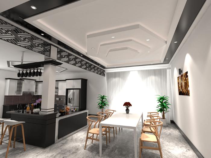   mẫu trần nhà thạch cao phòng khách liền bếp đẹp