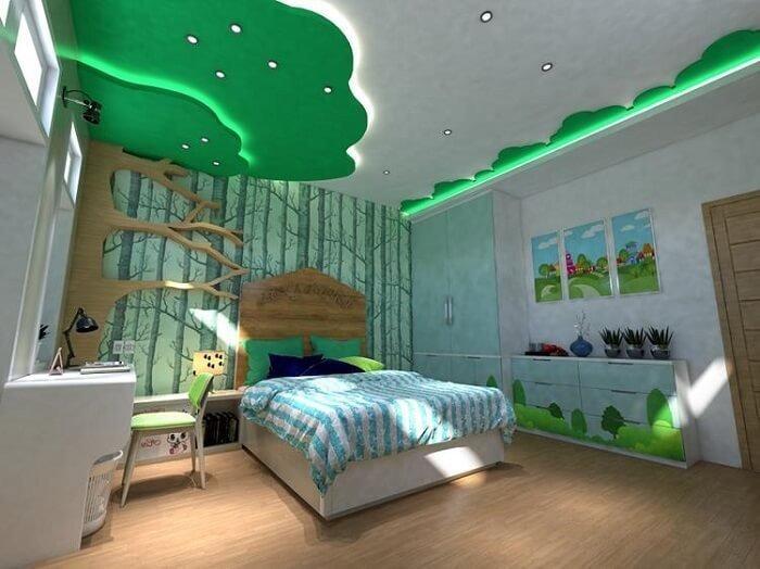 mẫu trần thạch cao phòng ngủ nhỏ cho trẻ em