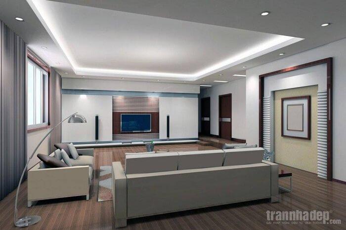 mẫu trần thạch cao dành cho phòng khách liền bếp